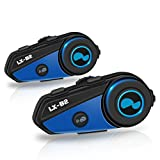 LEXIN 2x LX-B2 MotoFõn BT Interphone Bluetooth Motorcycle Helmet Intercom, Universal Wireless Headset, Motorbike Communication System with Speakers headphones for Motorbike Skiing for Riders