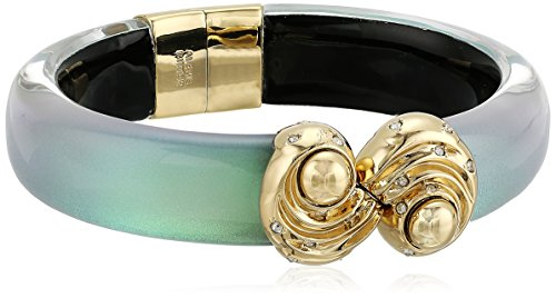 810u46Pgk L Pearlescent cuff bracelet featuring gold-tone hinge and closure studded with faceted rounds Made in the USA