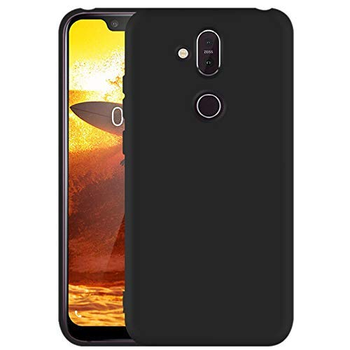 Bai and kaka Soft Slim Polyurethane Shockproof Back Cover for Nokia 8.1/X7 (Black) 117