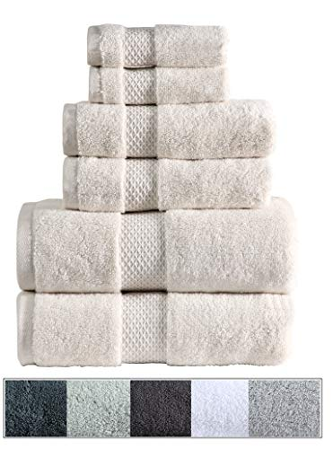 Royal Ascot 100% Zero Twist Cotton Towel Set 6 pc Set- 2 Bath Towels, 2 Hand Towels, 2 Face Towels, 550 GSM, Softer Than a Cloud, Absorbent, Machine Washable, Plush, SPA Towels (Ivory, 6 pc Set)