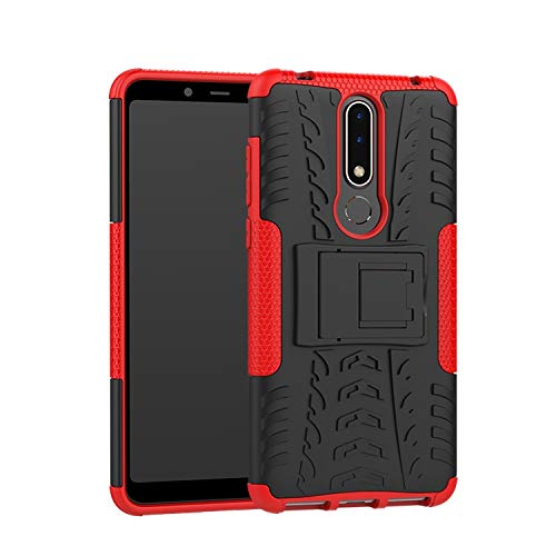 Soezit Nokia 3.1 Plus, Back Cover, Red Real Hybrid Shockproof Bumper Defender Cover, Kick Stand Back Case Cover for Nokia 3.1 Plus 153