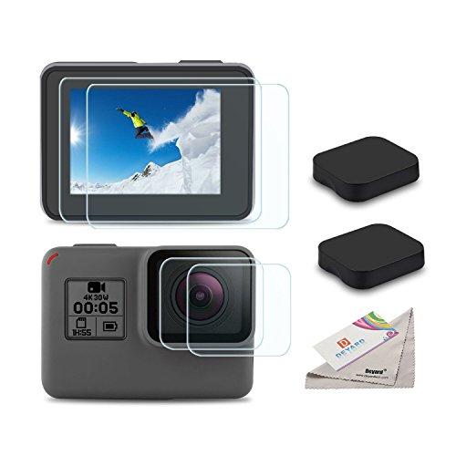 [6pcs] Deyard Screen Protector for GoPro Hero 7(Only Black)/Hero HD(2018)/Hero 5/Hero 6, Ultra Clear Tempered Glass Screen Protector + Lens Protector + Lens Cap Cover Accessories