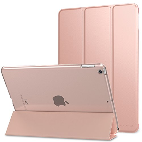 MoKo Case Fit 2018/2017 iPad 9.7 6th/5th Generation - Slim Lightweight Smart Shell Stand Cover with Translucent Frosted Back Protector Fit Apple iPad 9.7 Inch 2018/2017, Rose Gold(Auto Wake/Sleep)