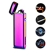 Dual Arc USB Lighter Rechargeable, Electronic Plasma Windproof Lighters Cigar Candle Cigarettes Outdoor Camping No Oil No Ga (Colored)