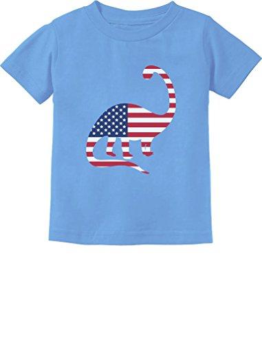 USA Dinosaur American Flag 4th of July Gift Toddler/Infant Kids T-Shirt 5/6 California Blue