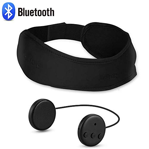 Bluetooth Headband Sleep Headphones, AGPTEK Bluetooth 4.1 Wireless Eye Mask with Detachable Thin Speaker for Side Sleepers,Sleeping, Sports, Travel, Snoring, Meditation & Relax Women Men,Black