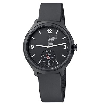 Mondaine Helvetica Smartwatch for Men (MH1B2S20RB) Swiss Made, Black Rubber Strap, Black Stainless Steel Case, Black Face, White Hands and Numbers