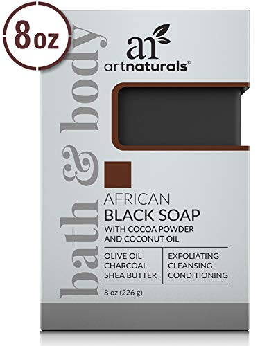 ArtNaturals African Black Soap Bar - (8 Oz / 226g) - Pure and Natural Acne Treatment - Face and Body Wash