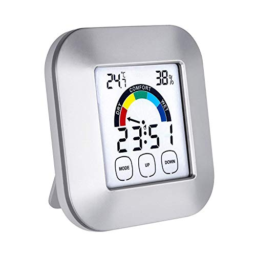 Balight Digital Hygrometer Thermometer,Humidity Gauges Touch Screen Wireless Monitor Temperature Gauge Indicator Time Display Built-in Clock (2 Battery Included)