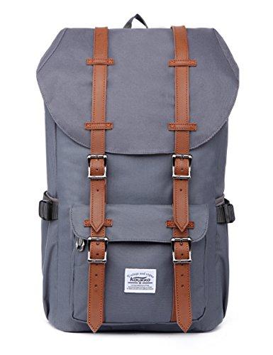 KAUKKO Laptop Outdoor Backpack, Travel Hiking& Camping Rucksack Pack, Casual Large College School Daypack, Shoulder Book Bags Back Fits 15' Laptop & Tablets (Ngrey)