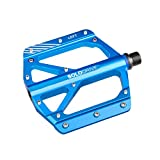 SOLODRIVE Mountain Bike Flat Pedals, Low-Profile Aluminium Alloy Bicycle Pedals, Light Weight and Thin Platform