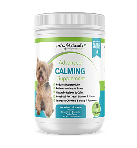 Natural Calming Treats for Dogs - Great for Travel, Groomers, Fireworks, Storms, Behavior, Dog Barking and Separation Anxiety in Dogs   Anti Stress Supplement for Dogs   120 Chicken Soft Chews 1