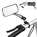 HAPTIME Aluminum Alloy Bycicle Rear View Mirrors, Handlebar End Bike Rectangle Mirrors Support 360° Rotation for MTB Mountain Road Cycling Bicycle Electric Bike - 1 Pair (Black)