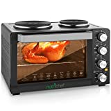 NutriChef Kitchen Convection Electric Countertop Rotisserie Toaster Oven Cooker with Food Warming Hot Plates, 30+ Quart (AZPKRTO28)
