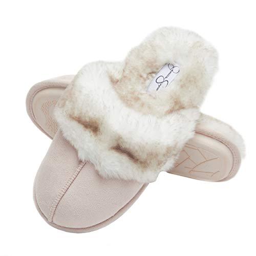 Jessica Simpson Comfy Faux Fur Womens House Slipper Scuff Memory Foam Slip On Anti-Skid Sole (Size Medium, Pink)