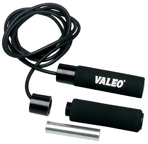 Valeo Adjustable Weighted Solid Rubber Jump Rope, Adjustable 10-Foot Length With Cushion Foam Handles For Comfortable Grip