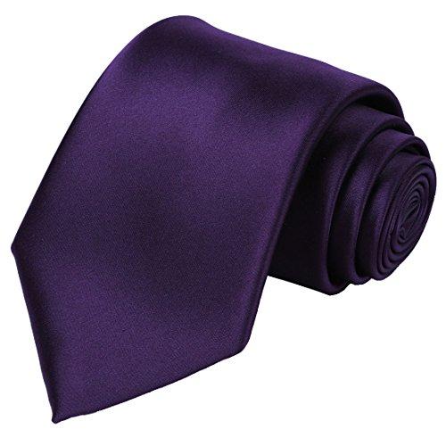 KissTies Solid Purple Satin Tie Wedding Ties Mens Necktie + Gift Box