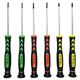 Screwdriver SET OF 6 - Magnetic Flathead and Philips With NON-SKID Handle in Different SIZES / COLORS - Professional Repair Tool Kit For Electronics/ iPhone/ PC/ Jewelry/ Watch/ Eyeglass