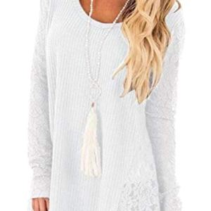 YONGM Womens Top Casual Lace Patchwork Long-Sleeve Pullover Sweater Knit Tops