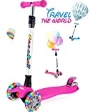 OUTON Scooter for Kids 3 Wheel Kick Scooter for Toddler Girls Boys, Lean to Steer, 4 Adjustable Height, Light Up Wheels for Children Age 3-14 Purple