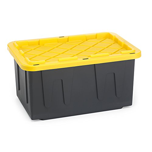 Homz Tough Durabilt Tote Box, 27 Gallon, Stackable, 2-Pack, Set of 2, Black and Yellow, 2 Piece