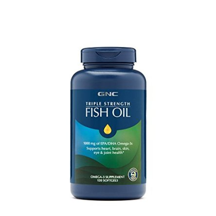 GNC Triple Strength Fish Oil, 1000mg of EPADHA Omega 3s for Joint, Skin, Eye, and Heart Health – 120 Count