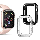 Goton Compatible iWatch Apple Watch Case 44mm Series 4, [ 2 Color Packs ] Soft TPU Shockproof Case Cover Bumper Protector (Black + Clear, 44mm)