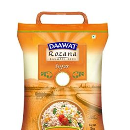 Daawat Rozana Super, Naturally Aged, Rich Aroma,Perfect Fit for Everyday Consumption Basmati Rice, 5 Kg
