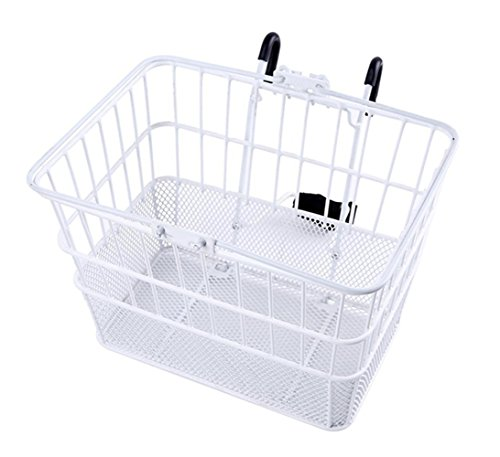 Ohuhu Rust-Proof Quick Release Front Handlebar Bicycle Lift Off Basket/Wire Mesh Bike Basket with Holder, Mesh Bottom, White