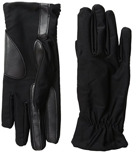 Isotoner Women's Spandex Fleece-Lined Gloves with Smart Touch Technology, Black, Large/X-Large