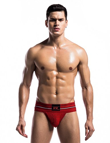 F plus R Mens Strip Waistband Athletic Supporter Jockstrap Sexy Swimwear Red Medium