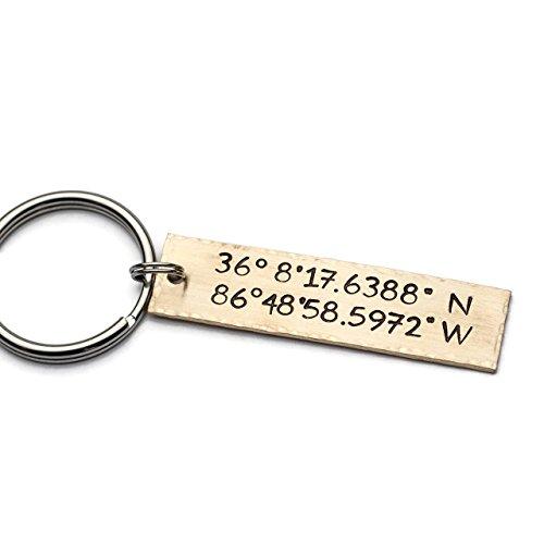 coordinates keychain personalized keychain gps longitude latitude