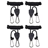 MAXSISUN 2-Pair 1/8' Adjustable Heavy Duty Rope Clip Hanger, Grow Light Ratchet Hanger, 150lbs Weight Capacity
