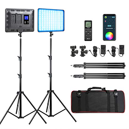 RGB-LED-Video-Light-Photography-Video-Lighting-kit-with-APPRemote-Control-2-Packs-Led-Panel-Light-with-Stand-for-Video-Recording-YouTube-Studio-CRI-95-2500K-8500K-RGB-Colors-17-Scenes