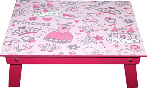 Enigmatic Woodworks Picket Mattress Desk 2 Pcs Combo for Youngsters, Made in India, Sturdy Design as Per Youngsters, Foldable Desk, Laptop computer Desk, Mattress Desk, Research Desk (Pink Balls & Pink Princess Equipment)
