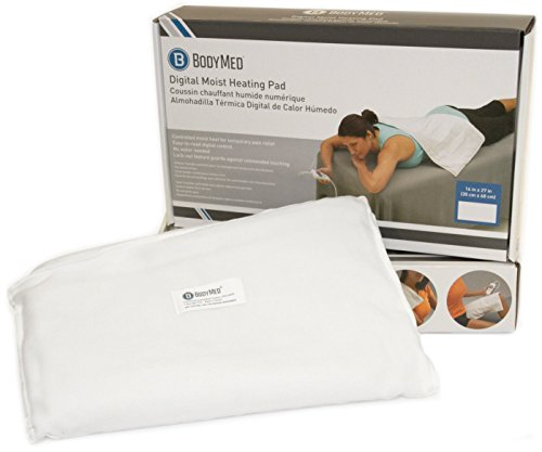 BodyMed White Digital Electric Moist Heating Pad Delivers Therapeutic Warmth at Source of Pain 14 inch x 27 inch - White