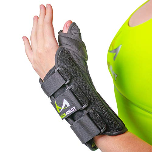 BraceAbility Thumb & Wrist Spica Splint | De Quervain's Tenosynovitis Long Stabilizer Brace for Tendonitis, Arthritis & Sprains Forearm Support Cast (XS - Right Hand)