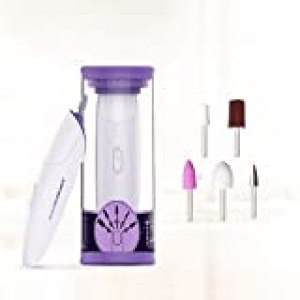 TOUCHBeauty Manicure Pedicure System Professional Nail File Drill Buffer set, Acrylic Nail Tools with LED Light, 5 Attachments Purple TB-1333