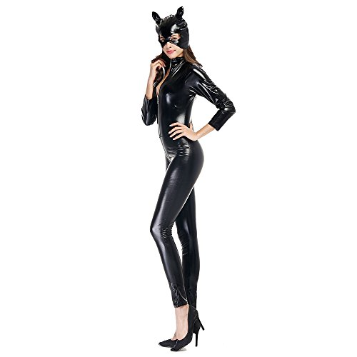 TTLIFE Adult Catwoman Costume Black Catsuit Bodysuit Jumpsuit Club ... 2a029fdc1c1f