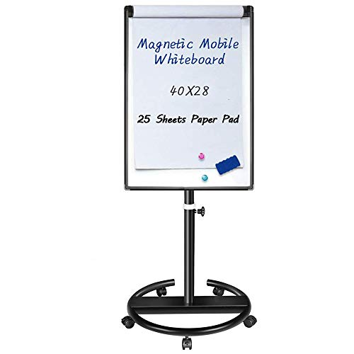 Magnetic Mobile Whiteboard - 40x28 inches Dry Erase Board Flipchart Easel Stand White Board