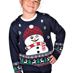KESIS Children Happy Snowman Ugly Christmas Sweater Dk. Blue
