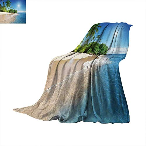 Blue Warm Microfiber All Season Blanket Ocean Tropical Palm Trees on Sunny Island Beach Scene Panoramic View Picture Print Artwork Image 60'x 36' Blue Green and White