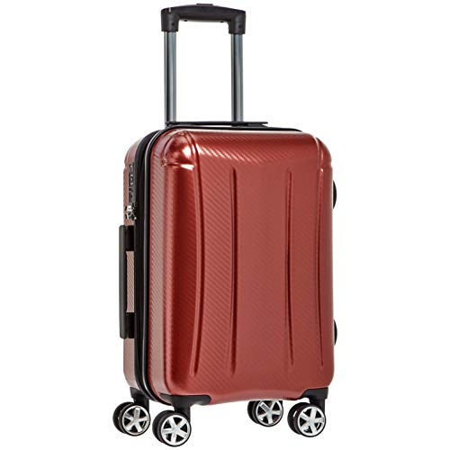 AmazonBasics Oxford Luggage Expandable Suitcase with TSA Lock Spinner, 20-Inch Carry-On, Red