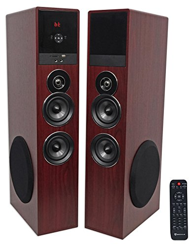 Rockville TM80C Cherry Powered Home Theater Tower Speakers 8″ Sub/Bluetooth/USB