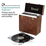 Retround Vintage Retro Vinyl leather Record Holder Case, LP Storage Carrying Case for 78 rpm, 45 rpm, 33 rpm Standard Size Vinyl Records Collections Storage Organizer Display Box-12 Inch (Brown)