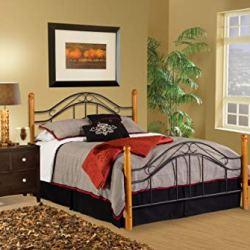 Hillsdale Furniture Winsloh Bed Set With Rails, Queen, Medium Oak