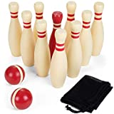 Brybelly Wooden Lawn Bowling Set   Classic Outdoor Lawn Game for Families and Children   Great for Birthday Parties, Picnics, BBQs, and More   Comes with 10 Pins, Two Wooden Balls, and Carry Bag