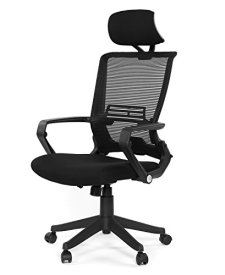 GreenForest Ergonomic Office Chair High Back Mesh Computer Chair with Adjustable Headrest and Foldable Mesh Back, Easy Assembled Black Desk Chair
