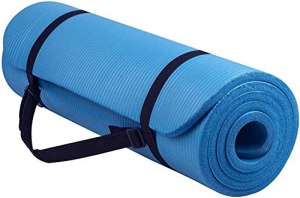 Keekos Large Exercise Yoga mat for Women and Men with Free Carry Strap – Blue 13mm with Anti Slip Texture and Sports, Fitness & Outdoors, Exercise Workout for Gym & Exercise (Blue yoga mat for men)