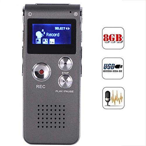 Fishar Digital Voice Recorder with Double Microphones Playback Upgraded Small Tape for Lectures Meetings Interviews USB Charge MP3 Support TF Card up to 8GB,Gray